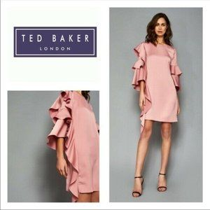 🆕Ted Baker Tunic Cocktail Short Dress Ruffle Pink